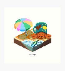 Crabby on the Beach Cube Art Print