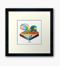 Crabby on the Beach Cube Framed Print