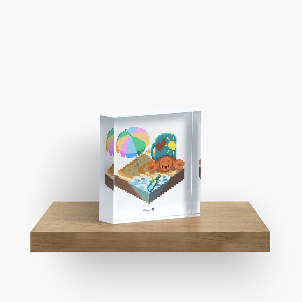 Crabby on the Beach Cube Acrylic Block