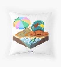Crabby on the Beach Cube Throw Pillow