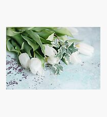 Pretty White Tulips on an old chippy table    Photographic Print