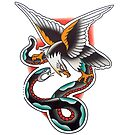 Traditional Eagle Snake Battle Tattoo Design by FOREVER TRUE TATTOO