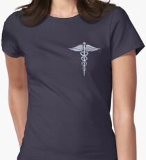 Chrome like Medical Caduceus Snakes Women's Fitted T-Shirt