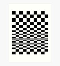 Movement in Squares, by Bridget Riley 1961, chess, tile, square, pattern, design, grid, mosaic, checkerboard, bank check, abstract Art Print