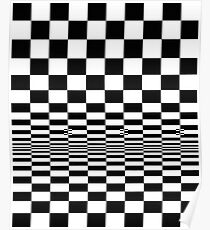 Movement in Squares, by Bridget Riley 1961, chess, tile, square, pattern, design, grid, mosaic, checkerboard, bank check, abstract Poster