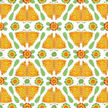 Butterflies and Flowers Ethnic Pattern by Eng-Sun