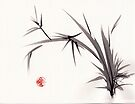"""Horizon""  original ink and wash bamboo sumi-e painting by Rebecca Rees"