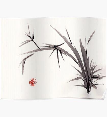 """""""Horizon""""  original ink and wash bamboo sumi-e painting Poster"""