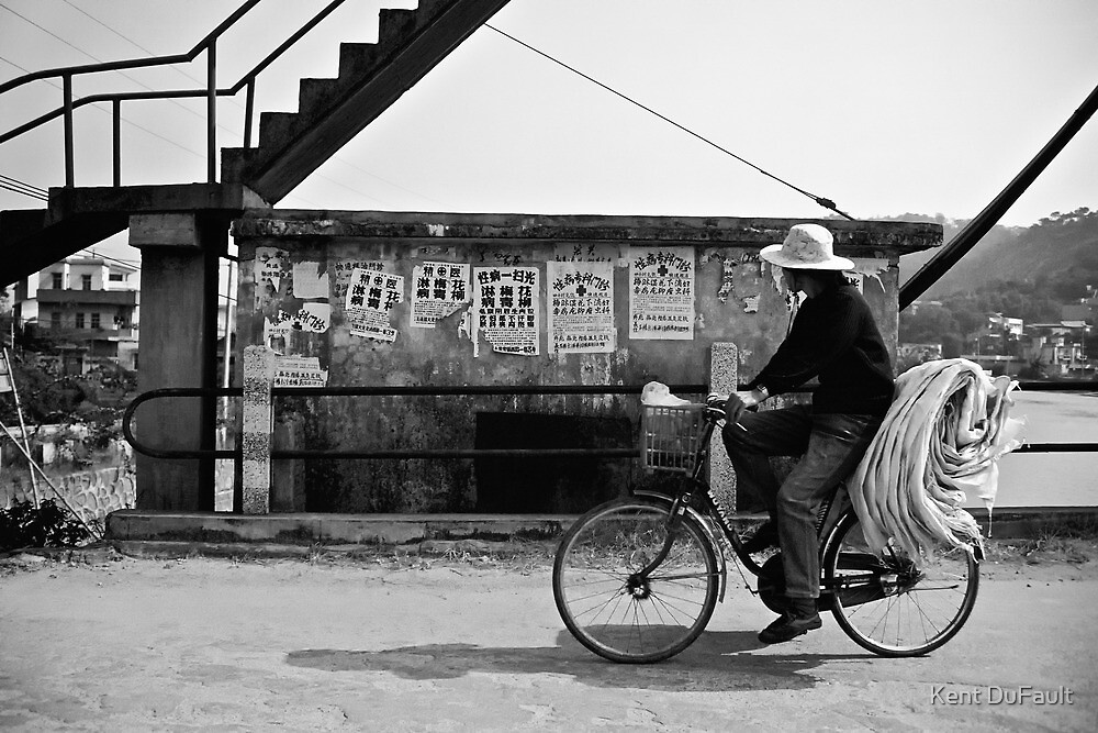 Riding The Bicycle - China by Kent DuFault