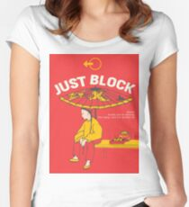 Just Block! Fighting Game Poster Design Women's Fitted Scoop T-Shirt