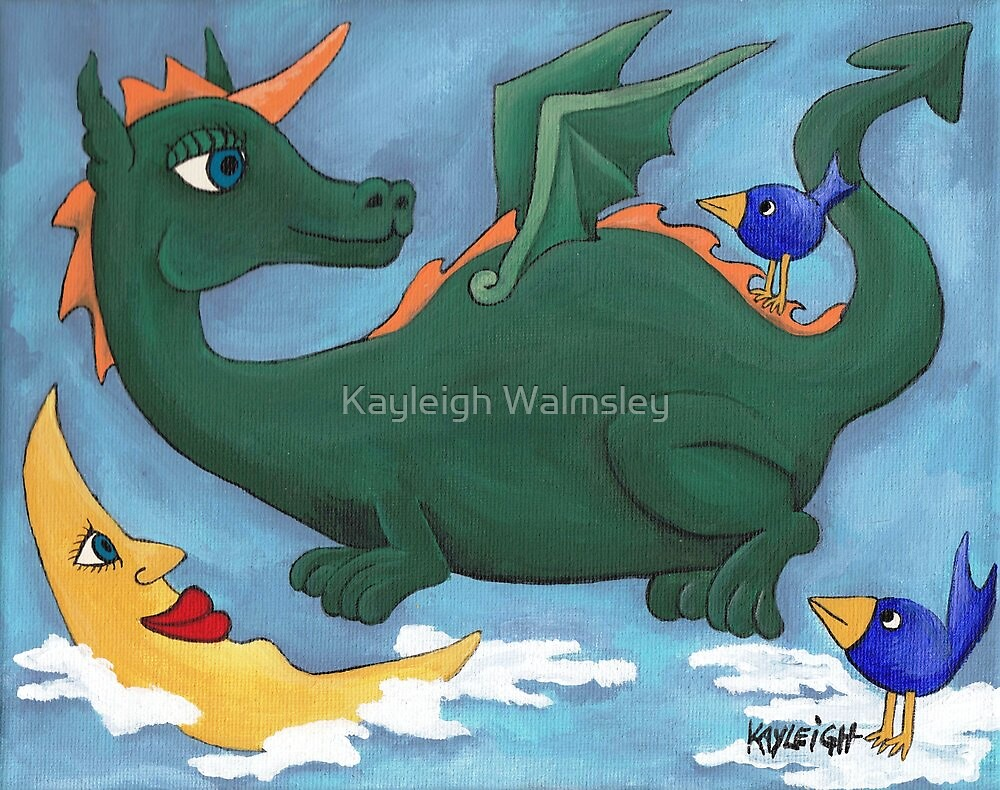 Dragon with little blue birds by Kayleigh Walmsley