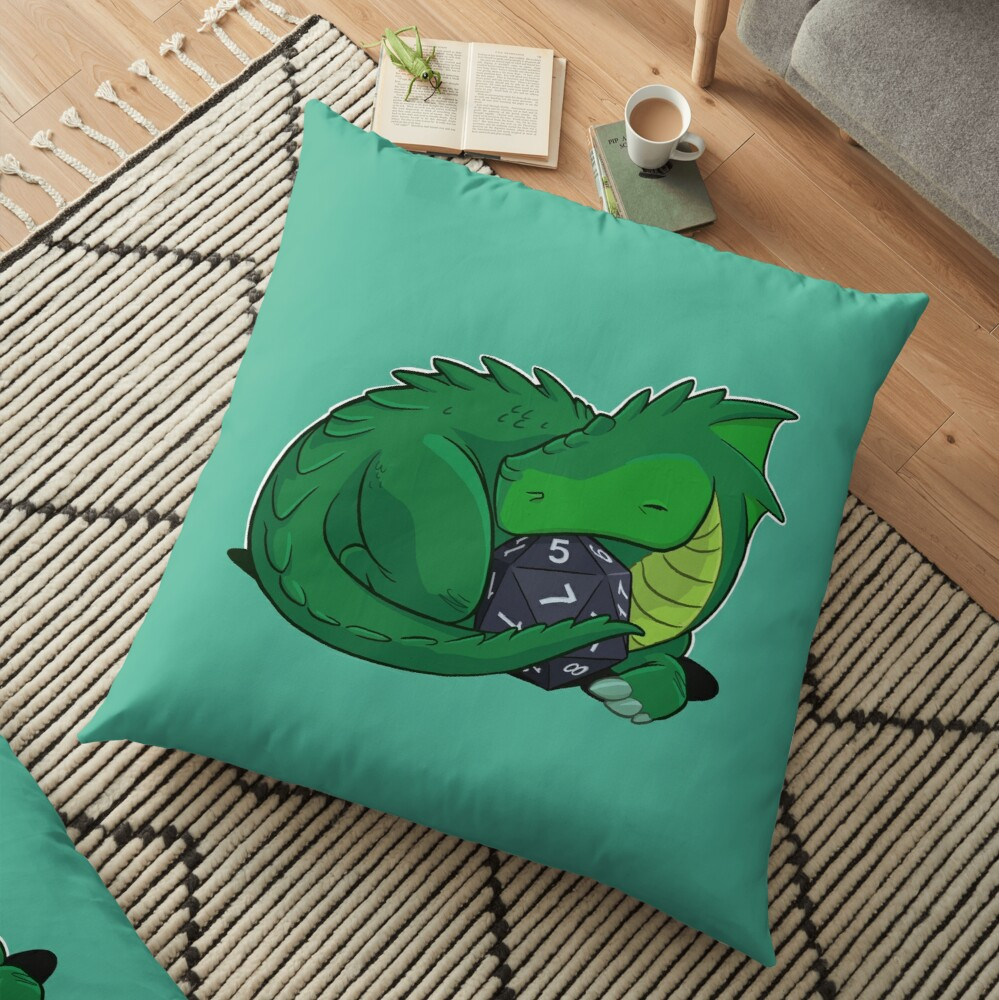 D20 Green Dragon Floor Pillow