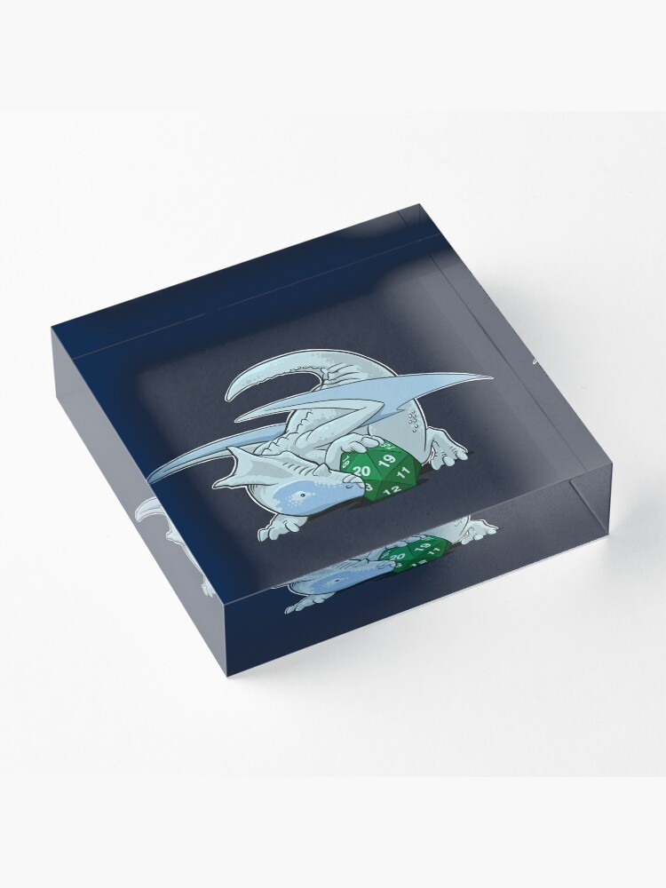 Alternate view of D20 White Dragon Acrylic Block