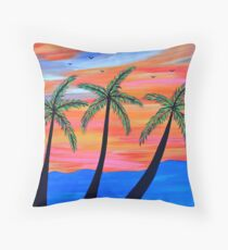 """Sunset Palms"" Throw Pillow"