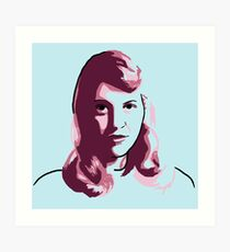 Sylvia Plath Blue Mauve Purple Pink Portrait Art Print