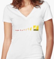 Nikon vs Canon Women's Fitted V-Neck T-Shirt