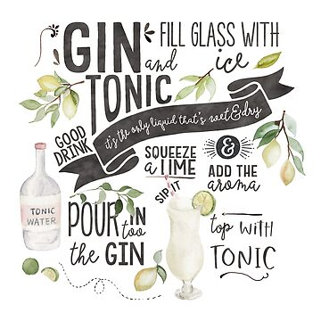 Gin Tonic Recipe In Watercolor by junkydotcom