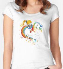 Aquarell Regenbogen Brite Tailliertes Rundhals-Shirt