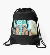 The Swimmer - White Drawstring Bag