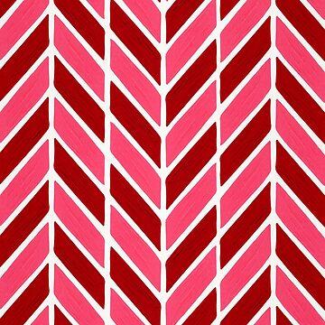 Fischgrät-Acryl - rote & rosa Palette von catcoq