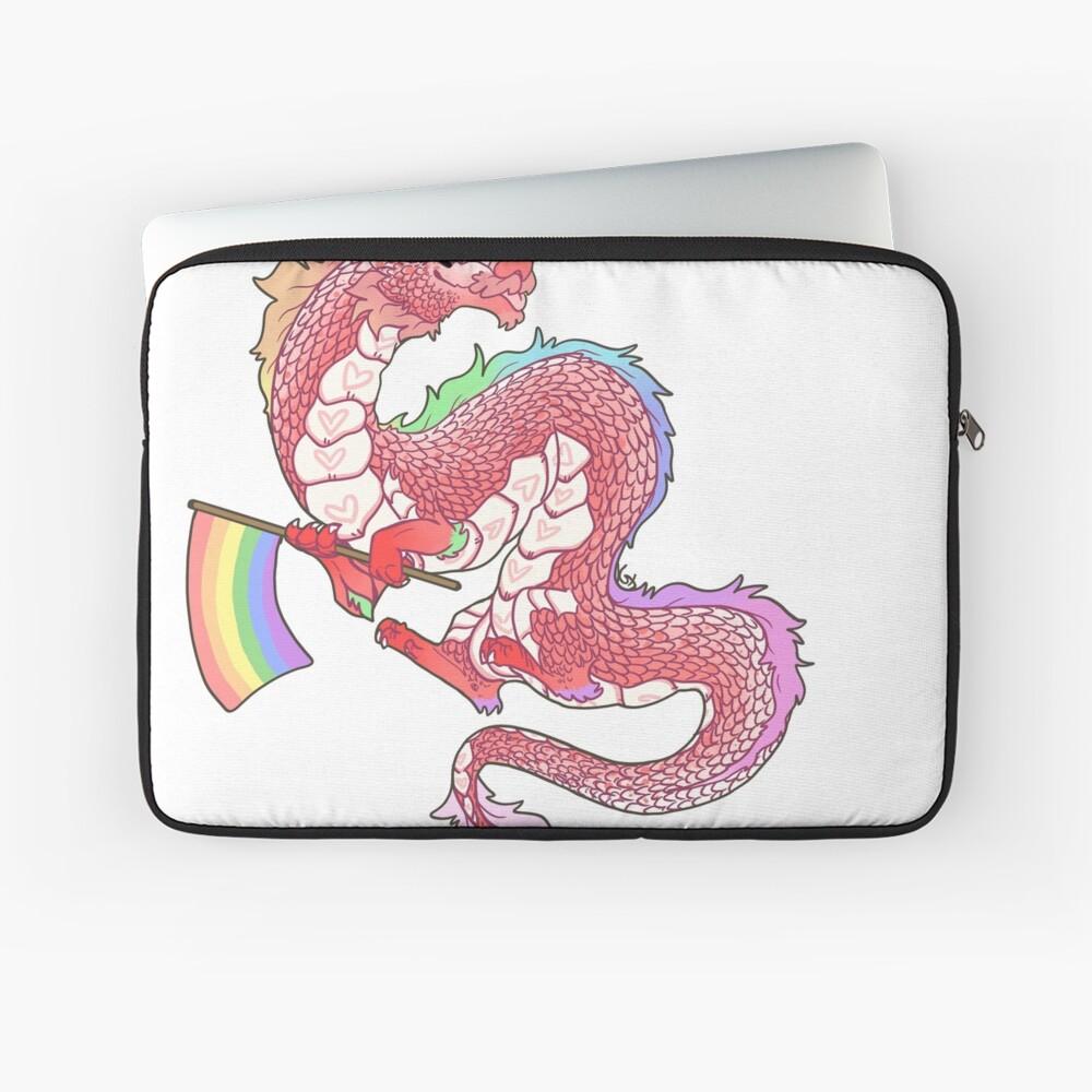 Gay Pride Eastern Dragon - Pastel.  Laptop Sleeve