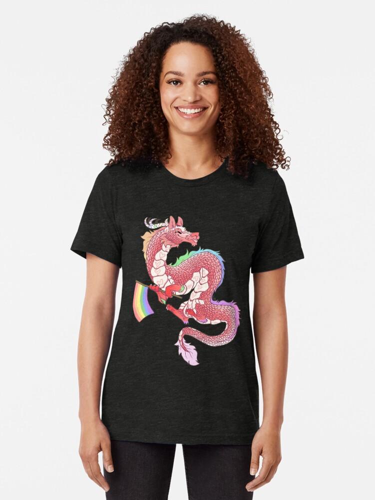 Alternate view of Gay Pride Eastern Dragon - Pastel.  Tri-blend T-Shirt
