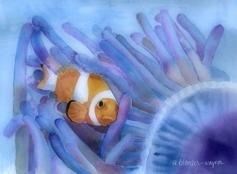 """Clownfish And The Sea Anemone"" Canvas Prints by arline ..."