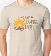 Crazy Camping Lady with camp fire and sticks Unisex T-Shirt