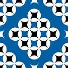 Black and Blue Geometric Pattern B by TMBTM