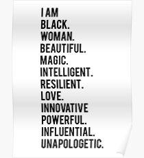 Ich bin schwarze Frau   Afroamerikaner   Schwarze Leben Poster