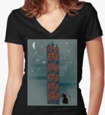 Urban Cat Women's Fitted V-Neck T-Shirt