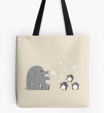 Bolsa de tela Los elefantes y los pingüinos aman las burbujas.