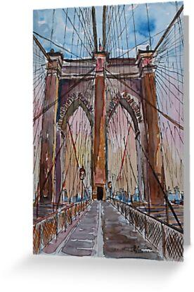 Brooklyn Bridge New York City - Stadtansicht - Aquarell  von artshop77