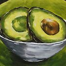 Original Painting Healthy Sliced Avocado by Erika Lancaster