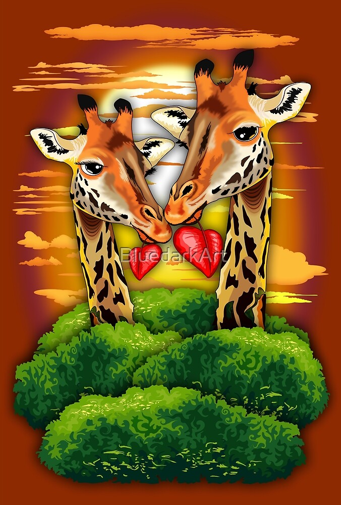 Giraffes in Love in Wild African Savanna  by BluedarkArt