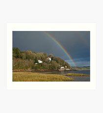 Dylan Thomas' Boathouse and Rainbow Laugharne Carmarthenshire Art Print