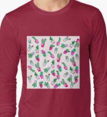 Cute pink green watercolour trendy cactus pattern  Long Sleeve T-Shirt