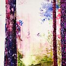 Purple pine forest Painting by Sue Wellington