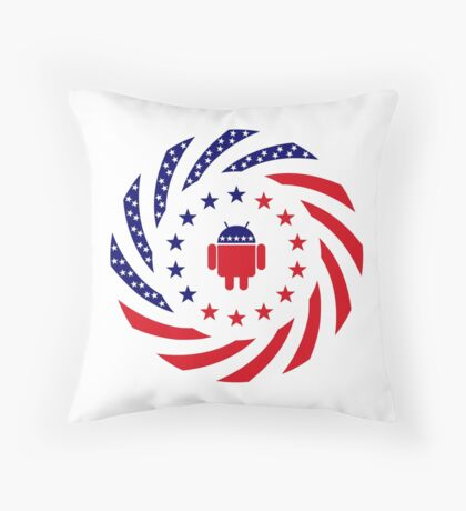 Android Murican Patriot Flag Series Throw Pillow
