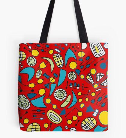 Metro Red Colorful Pattern Tote Bag