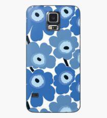 Marimekko Blauer Blumendruck Hülle & Klebefolie für Samsung Galaxy