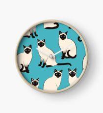 Siamesische Katzen - spärliches Muster Uhr