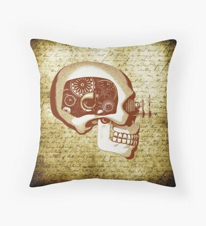 Vintage style Steampunk Automaton Throw Pillow