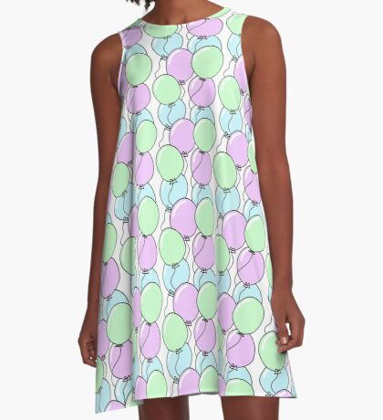 Birthday Party Balloons | Mint, Purple, Blue A-Line Dress