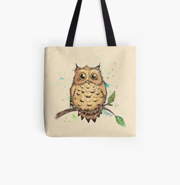 """Hoo, Me?"" Baby Owl by Amber Marine, watercolor & ink, © 2019  All Over Print Tote Bag"