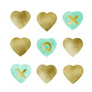Tic Tac Toe hearts - Mint and Gold palette  by Cynthia Haller