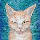 ;P  Seb the Groovy Cat by Amber Marine, watercolor and acrylic, © 2016 by Amber Marine ~ Wildlife Artist ~ © 2004-2019