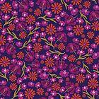 Pink Flower Field by Sandra Hutter