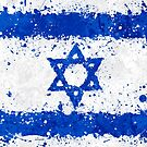 Israel Flag Action Painting - Messy Grunge by Garyck Arntzen