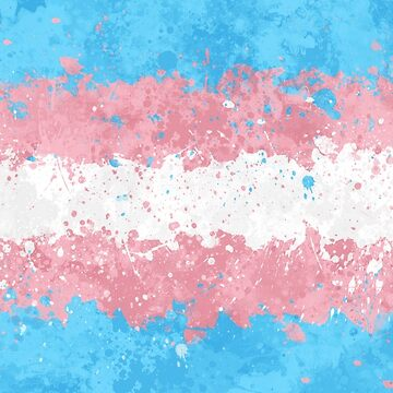 Trans Flag Action Painting - Messy Grunge by GrizzlyGaz
